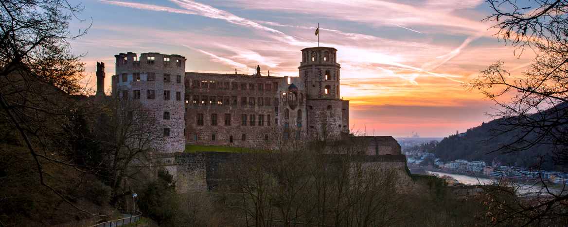A romantic view of Heidelberg castle at dusk